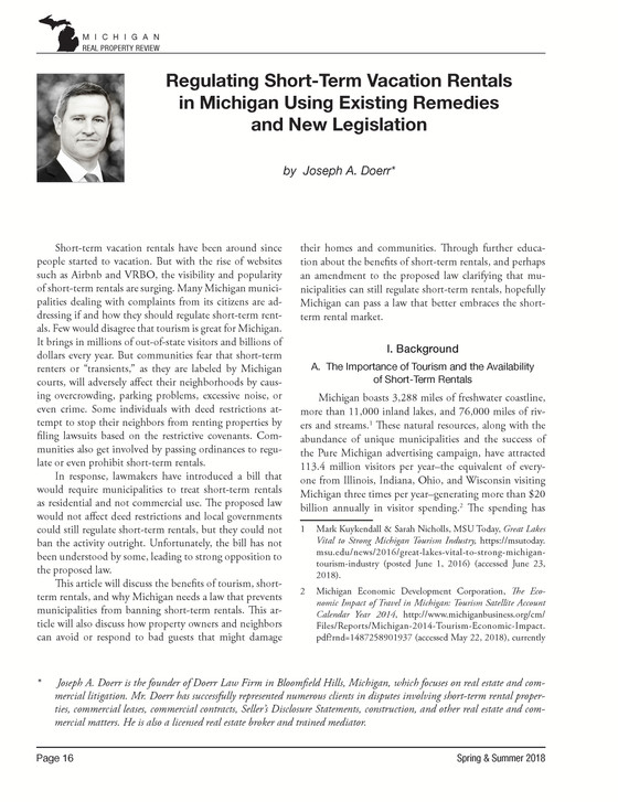 Regulating Short-Term Vacation Rentals in Michigan Using Existing Remedies and New Legislation