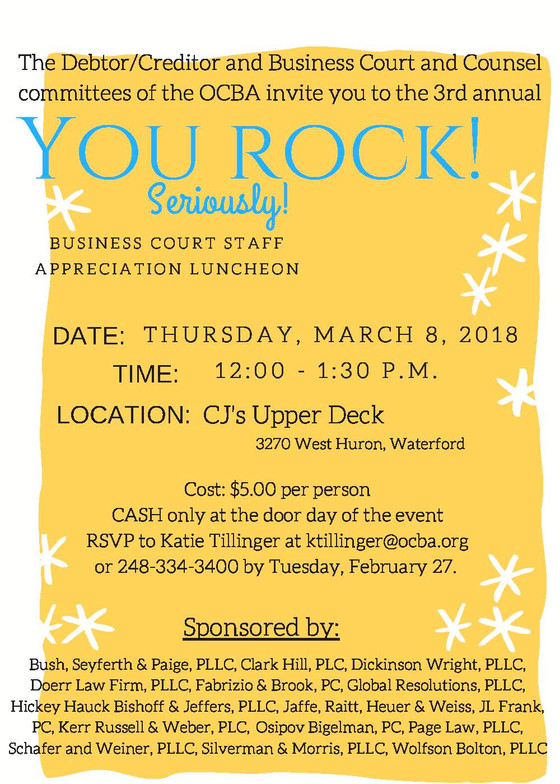 Business Court Staff Appreciation Luncheon (March 8th)