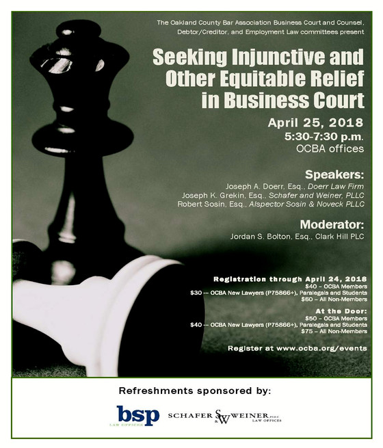 NEW DATE: Seeking Injunctive and Other Equitable Relief in Business Court