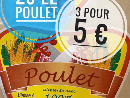 🚛MEGA ARRIVAGE 🐓 POULET  2€ pièce, les 3 pour 5€ www.marcheprixplus.com
