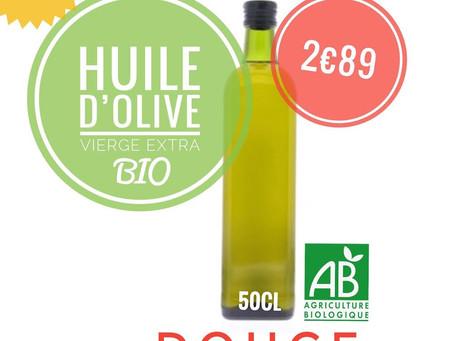 👋Bonjour, ce jour, ☀️🥗☀️🥗arrivage de produits bio dont: HUILE  OLIVE  DOUCE ET FRUITÉ