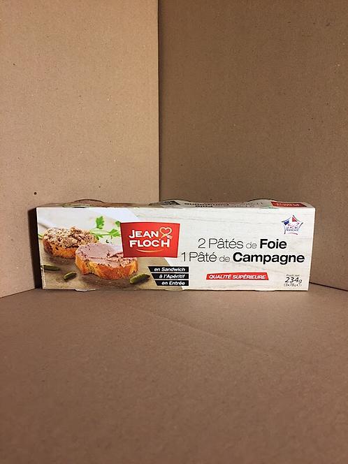 2 pâtés de foie + 1 pâtés de campagne 234g ( 3x78g)