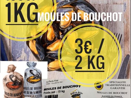 🚨Ce mercredi 9,🔴en direct Moules de bouchot 👉1,99 €/kg 👉3€/ 2Kg  www.marcheprixplus.com/info-1