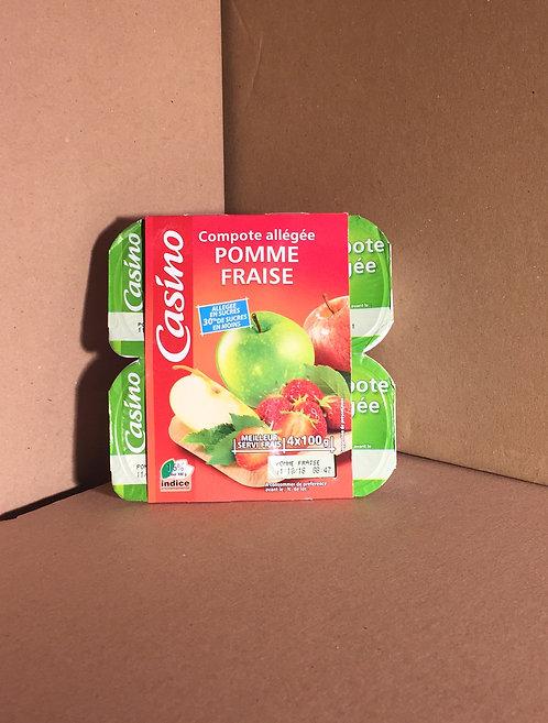 Compote allégée pomme fraise 0€49 les  4x100g