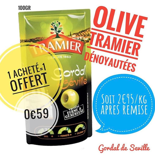Olives tramier 100g 0€59 le 2ème offert. Eng 0,20