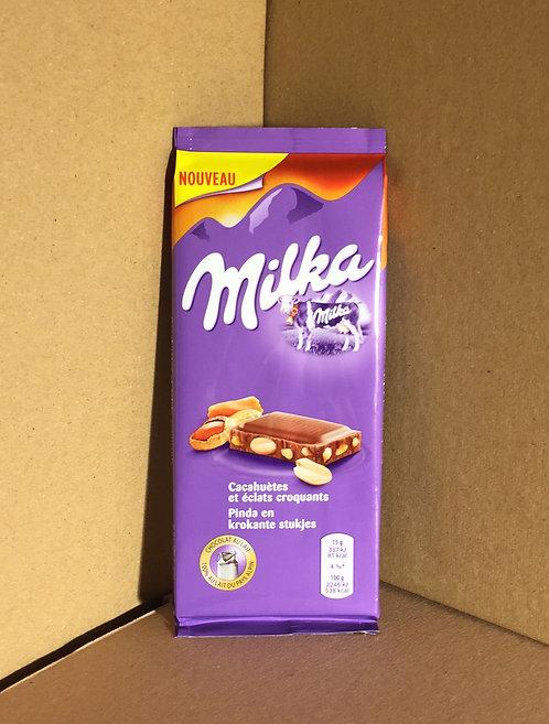 chocolat au lait cacahuetes et éclats croquants  90g