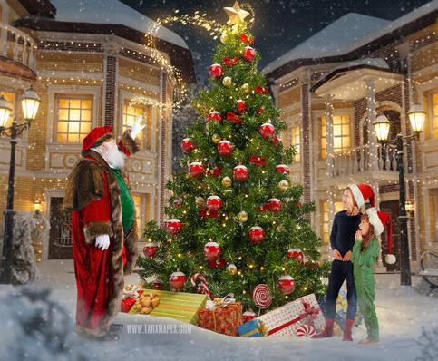 Victorian Santa Christmas Town Tree Topper