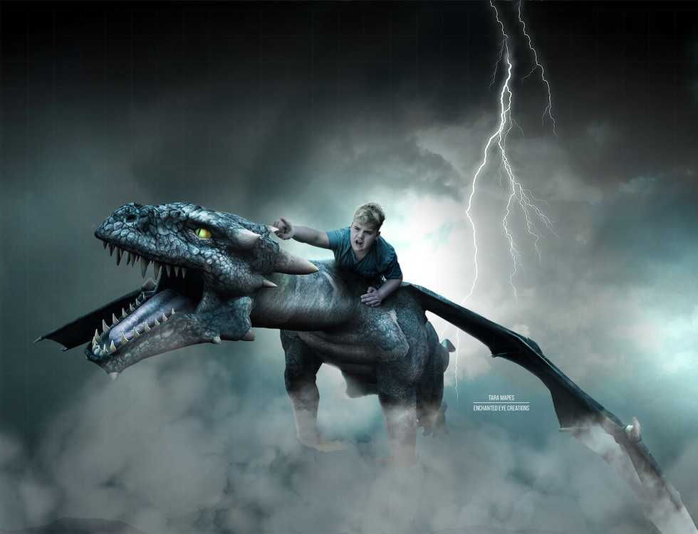 Dragon flying stormy