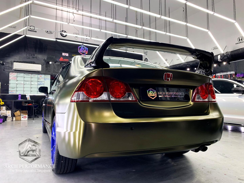 Civic FD Matte Metallic (Bond Gold) Rear