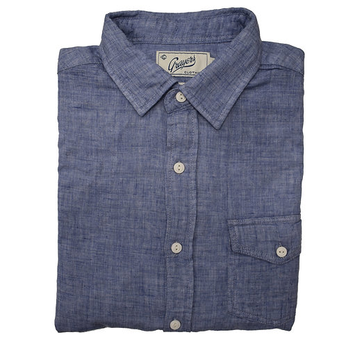 Blue Chambray Long Sleeve Flannel Shirt