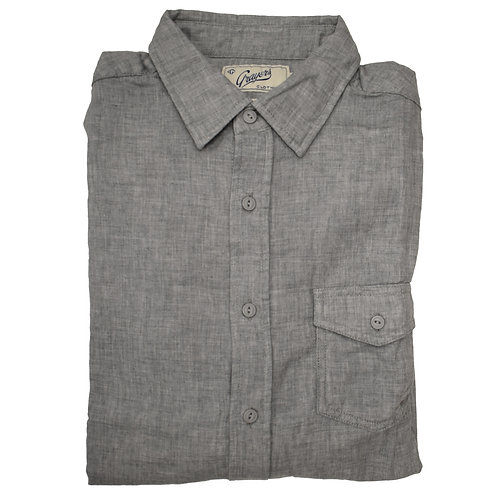Grey Chambray Long Sleeve Flannel Shirt