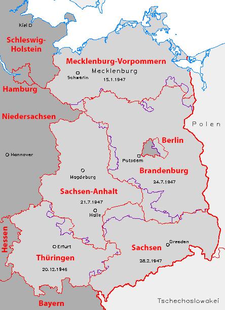 Land Brandenburg 1947 und ab 1990