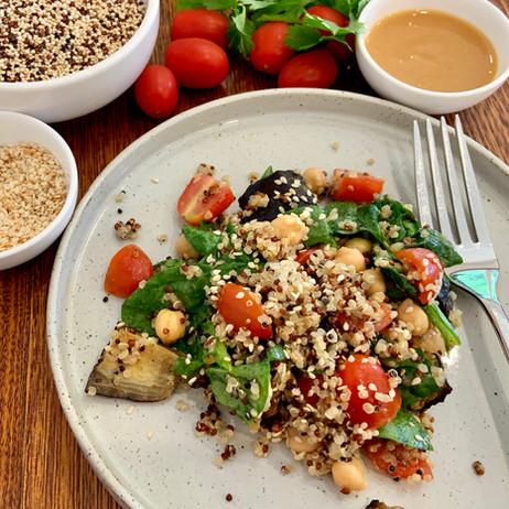 Miso Eggplant & Quinoa Salad