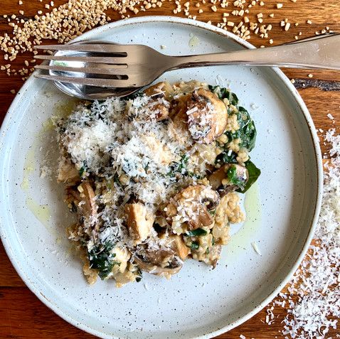 Steel-Cut Oat Risotto with Wild Mushrooms & Spinach
