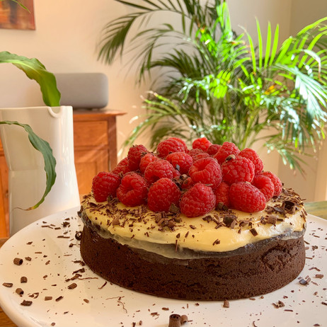 Chocolate Almond Torte with Raspberry & Honey Butter