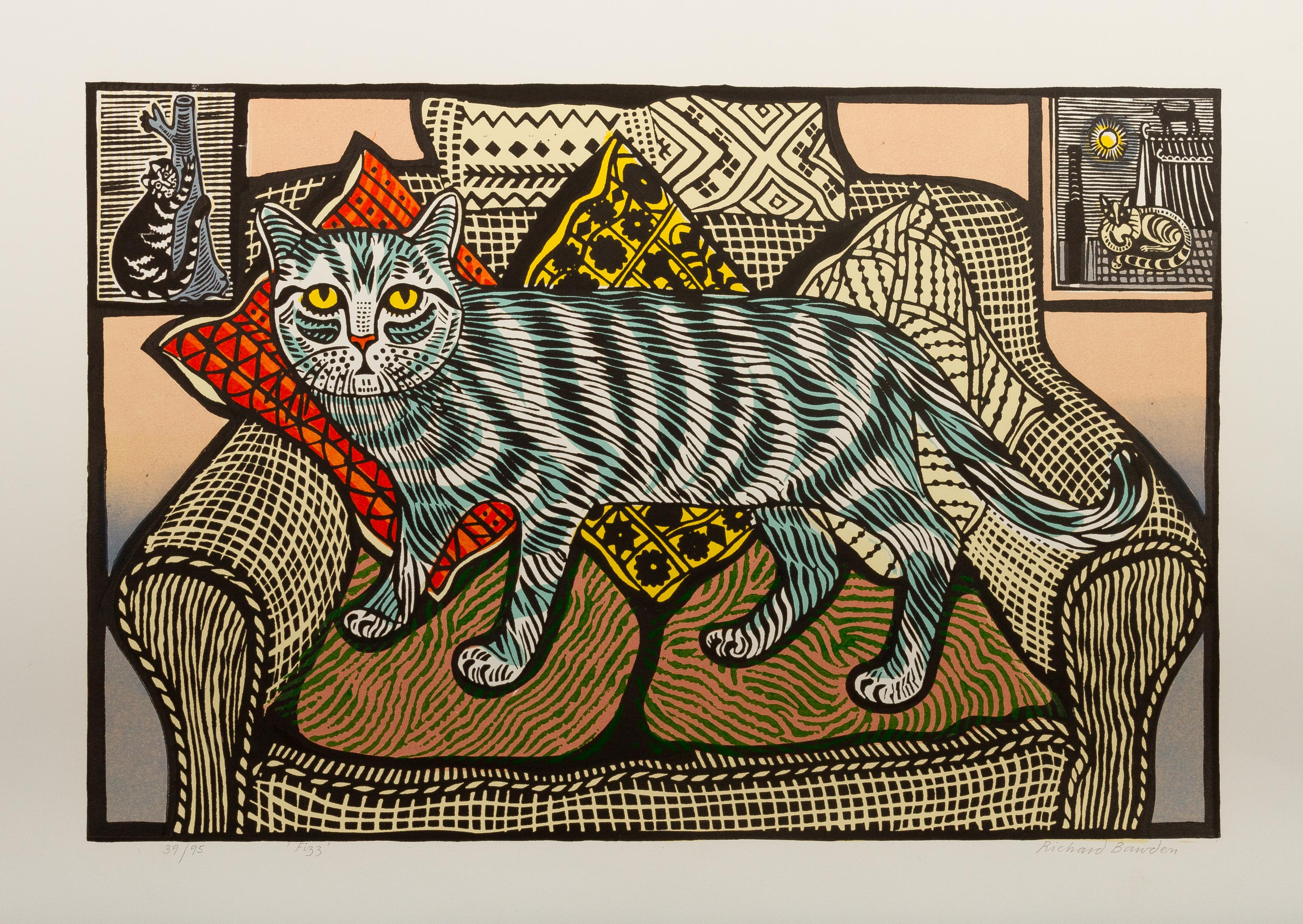 Fizz - linocut by Richard Bawden