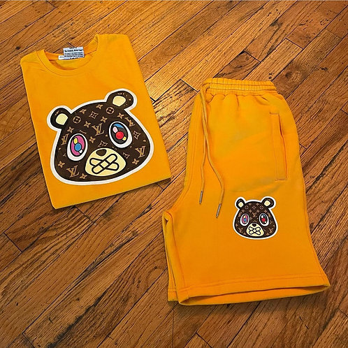 Yellow Gold LV Bear Tee & Shorts Set