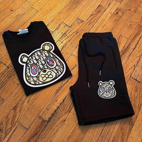 Black Dior Bear Tee & Shorts Set