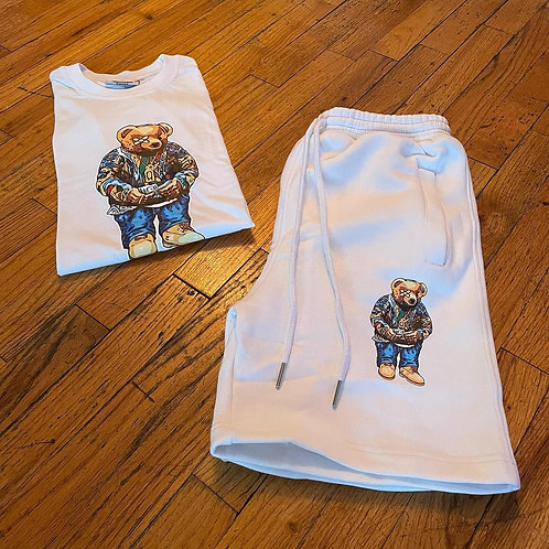 Biggie Bear White Tee & Short Set