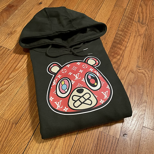 Forest green SUP LV bear hoodie