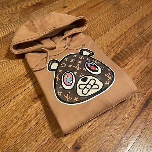 Tan LV bear hoodie