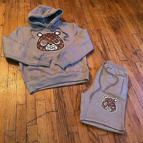 Grey LV patch bear short Hoodie set