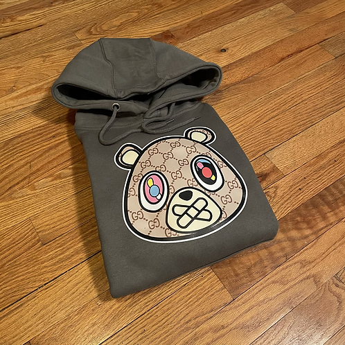 Olive green GG bear hoodie