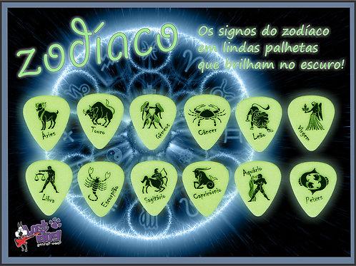Palheta do Zodiaco brilha no escuro! Pack com 12
