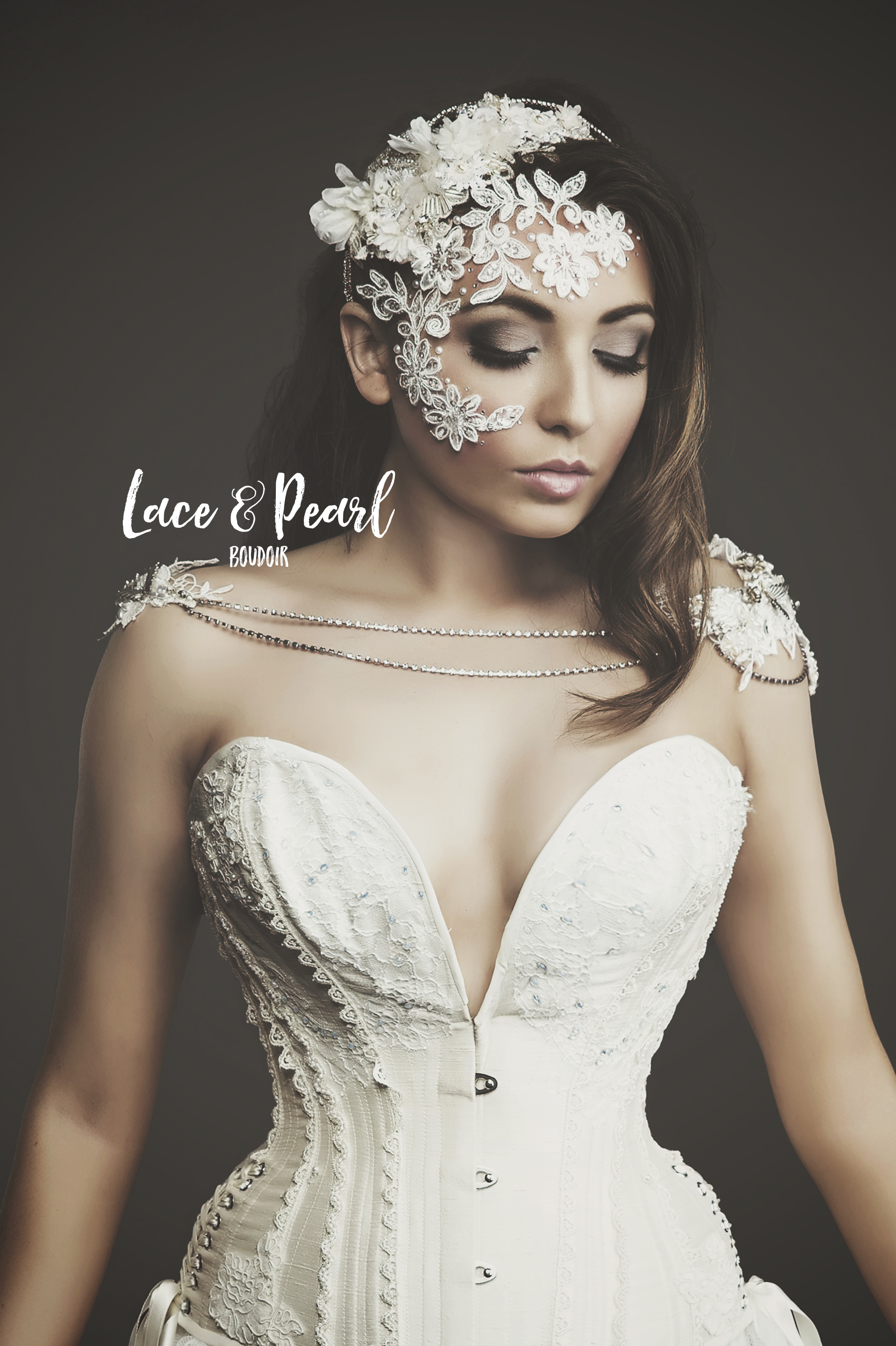Lace and Pearl Bridal Boudoir Editorial Shoot 4 (Portrait)