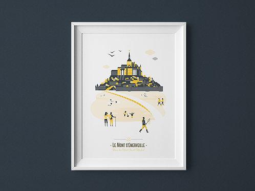 Affiche | Mont Saint-Michel | Jaune
