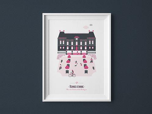 Affiche | Rennes Parlement | Rose