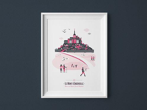 Affiche | Mont Saint-Michel | Rose