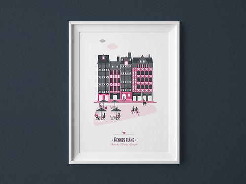 Affiche | Rennes Champ Jacquet | Rose
