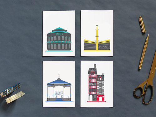 Cartes postales | Set de 4 | Rennais