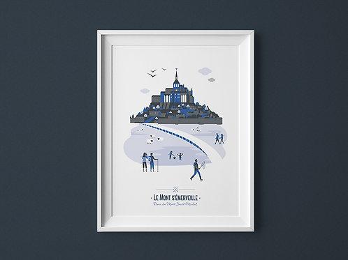 Affiche | Mont Saint-Michel | Bleu