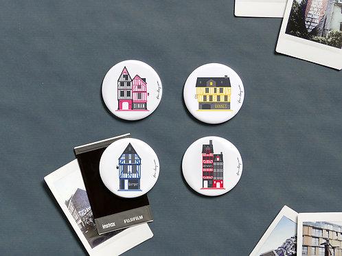 Magnets | Set de 4 | Maisons à colombages