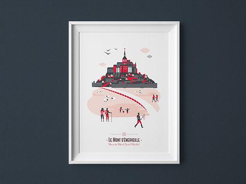 Affiche | Mont Saint-Michel | Rouge