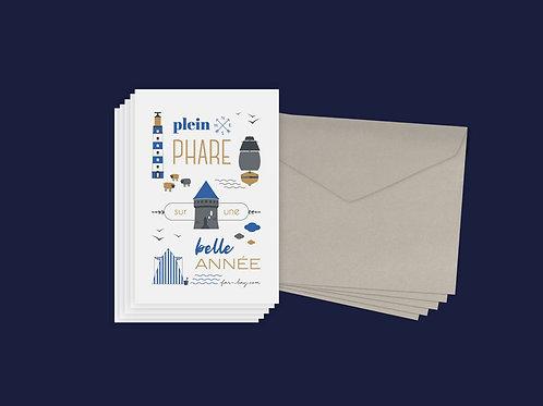 Cartes de vœux | Set de 5 | Plein phare sur une belle année