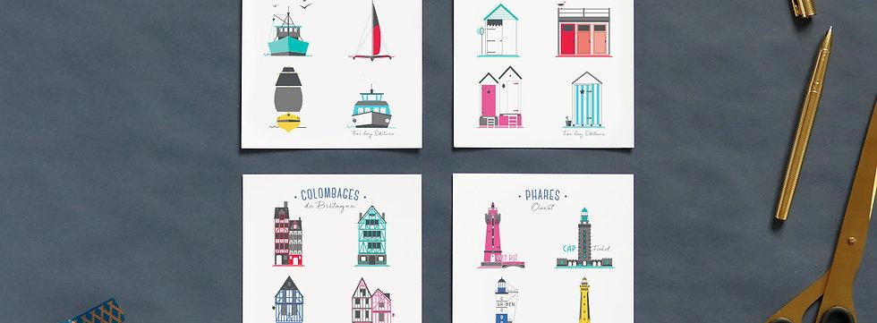 Cartes postales | Set de 4 | Thèmes Iconik