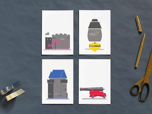 Cartes postales | Set de 4 | Malouin