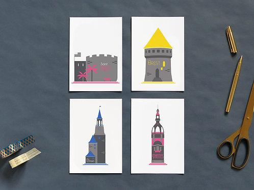 Cartes postales | Set de 4 | Tours de l'Ouest