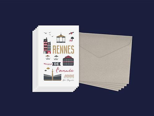 Cartes de vœux | Set de 5 | Rennes de l'année