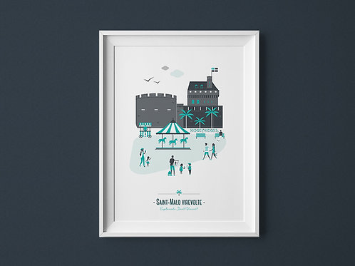 Affiche | Saint-Malo | Vert