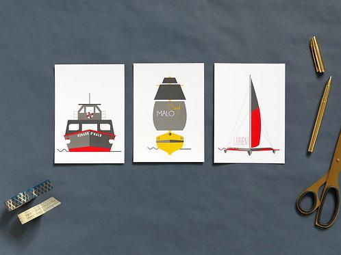 Cartes postales | Set de 3 | Bateaux bretons
