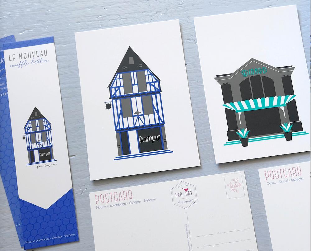 Cartes postales et marque-pages de la Boite à Musique de Quimper et La façade du Casino de Dinard