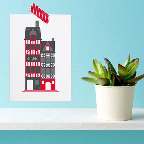 Carte postale Rennes | Maison à colombages