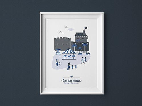 Affiche | Saint-Malo | Bleu