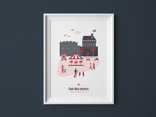 Affiche   Saint-Malo   Rouge