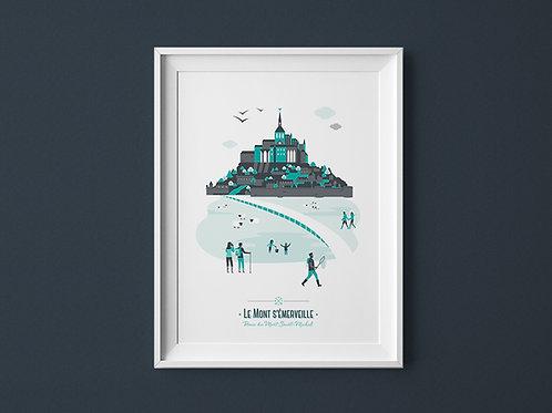 Affiche | Mont Saint-Michel | Vert