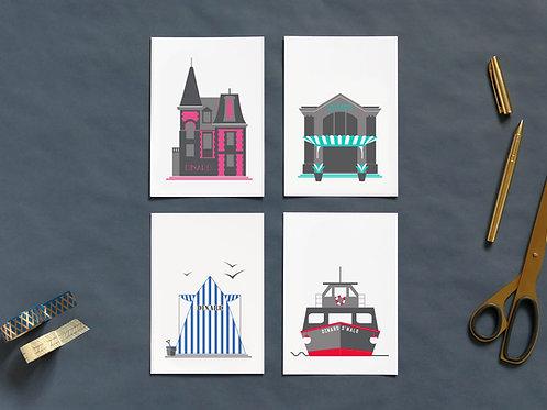 Cartes postales | Set de 4 | Dinardais
